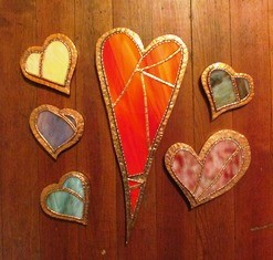 Deb Wight Stained Glass and Copper Wooden Hearts 36 84 web