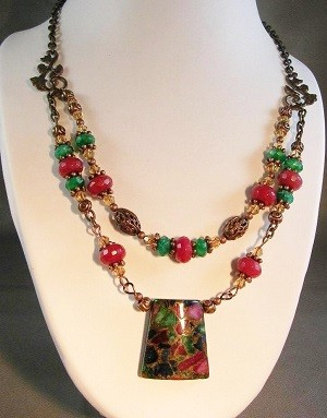Jan Holley Multi Jasper Pendant dbl strand Vintaj