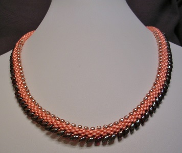 Jan Holley Peach Sorbet Beaded Kumihimo Necklace 007.JPG
