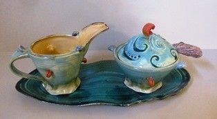 Kim Norris Cream and Sugar Set on Tray 165 web