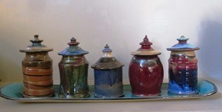 Kim Norris Lidded Jar Set with Tray 295 web