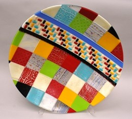 Nicole Lozano 19.5 inch fused bowl quilted color series395 web