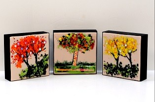 Ron and Elaine Griffin Fused Glass on Three wood panels 8inx8in Aug 2013 web